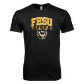 Next Level SoftStyle Black T Shirt-Arched FHSU Tigers w/ Tiger