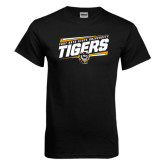 Black T Shirt-Slanted Tigers Stencil w/ Tiger