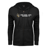 ENZA Ladies Black Fleece Full Zip Hoodie-Fort Hays State University Flat w/ Tiger