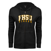 ENZA Ladies Black Fleece Full Zip Hoodie-Arched FHSU Tigers