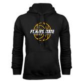 Black Fleece Hoodie-Basketball Outline Design
