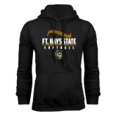 Black Fleece Hoodie-Stacked Softball Design