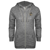 ENZA Ladies Grey/Black Marled Full Zip Hoodie-Victor E. Tiger