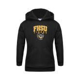 Youth Black Fleece Hoodie-Arched FHSU Tigers w/ Tiger