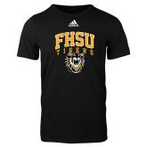 Adidas Black Logo T Shirt-Arched FHSU Tigers w/ Tiger