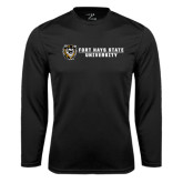 Performance Black Longsleeve Shirt-Fort Hays State University Flat w/ Tiger