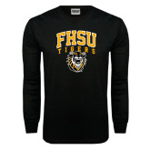 Black Long Sleeve TShirt-Arched FHSU Tigers w/ Tiger