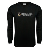 Black Long Sleeve TShirt-Fort Hays State University Flat w/ Tiger