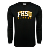 Black Long Sleeve TShirt-Arched FHSU Tigers