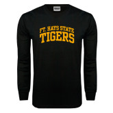 Black Long Sleeve TShirt-Arched Ft. Hays State Tigers