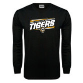 Black Long Sleeve TShirt-Slanted Tigers Stencil w/ Tiger