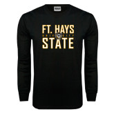 Black Long Sleeve TShirt-Ft. Hays State University Stacked
