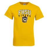 Gold T Shirt-Arched FHSU Tigers w/ Tiger