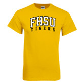 Gold T Shirt-Arched FHSU Tigers