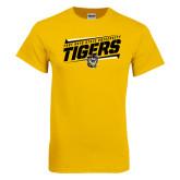 Gold T Shirt-Slanted Tigers Stencil w/ Tiger