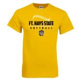 Gold T Shirt-Stacked Softball Design
