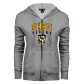 ENZA Ladies Grey Fleece Full Zip Hoodie-Arched FHSU Tigers w/ Tiger