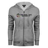 ENZA Ladies Grey Fleece Full Zip Hoodie-Fort Hays State University Flat w/ Tiger