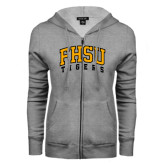 ENZA Ladies Grey Fleece Full Zip Hoodie-Arched FHSU Tigers