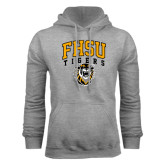 Grey Fleece Hoodie-Arched FHSU Tigers w/ Tiger