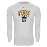 Under Armour White Long Sleeve Tech Tee-Arched FHSU Tigers w/ Tiger