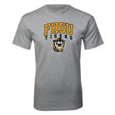 Grey T Shirt-Arched FHSU Tigers w/ Tiger