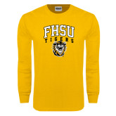 Gold Long Sleeve T Shirt-Arched FHSU Tigers w/ Tiger