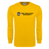 Gold Long Sleeve T Shirt-Fort Hays State University Flat w/ Tiger