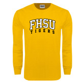 Gold Long Sleeve T Shirt-Arched FHSU Tigers