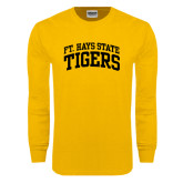 Gold Long Sleeve T Shirt-Arched Ft. Hays State Tigers