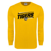 Gold Long Sleeve T Shirt-Slanted Tigers Stencil w/ Tiger