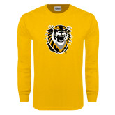 Gold Long Sleeve T Shirt-Victor E. Tiger Distressed