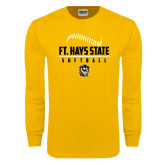 Gold Long Sleeve T Shirt-Stacked Softball Design