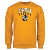 Gold Fleece Crew-Arched FHSU Tigers w/ Tiger