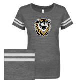 ENZA Ladies Dark Heather/White Vintage Triblend Football Tee-Victor E. Tiger