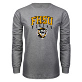 Grey Long Sleeve T Shirt-Arched FHSU Tigers w/ Tiger