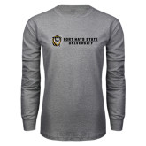Grey Long Sleeve T Shirt-Fort Hays State University Flat w/ Tiger