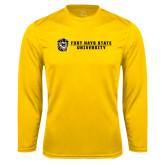 Performance Gold Longsleeve Shirt-Fort Hays State University Flat w/ Tiger
