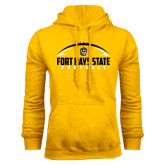 Gold Fleece Hoodie-Arched Football Design