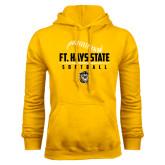 Gold Fleece Hoodie-Stacked Softball Design