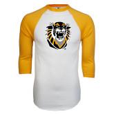 White/Gold Raglan Baseball T-Shirt-Victor E. Tiger