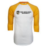 White/Gold Raglan Baseball T-Shirt-Fort Hays State University Flat w/ Tiger