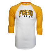 White/Gold Raglan Baseball T-Shirt-Arched FHSU Tigers