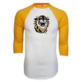 White/Gold Raglan Baseball T-Shirt-Victor E. Tiger Distressed