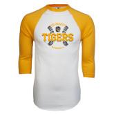 White/Gold Raglan Baseball T-Shirt-Circle Seams Designs