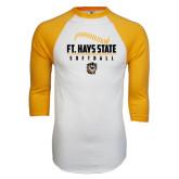 White/Gold Raglan Baseball T-Shirt-Stacked Softball Design