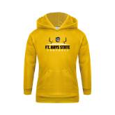 Youth Gold Fleece Hoodie-Football Field Design