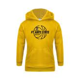 Youth Gold Fleece Hoodie-Basketball Outline Design