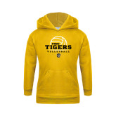 Youth Gold Fleece Hoodie-Volleyball Design