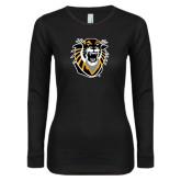 Ladies Black Long Sleeve V Neck Tee-Victor E. Tiger